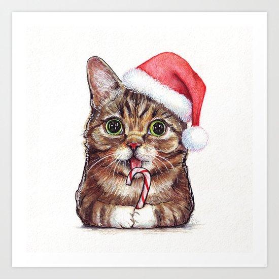 Cat in Santa Hat Whimsical Christmas Animals Art Print