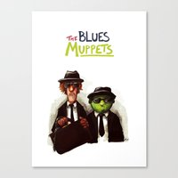 muppets Canvas Prints featuring The Blues Muppets by carbonatedink