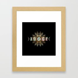 Opal Moon and Gold Stars Framed Art Print