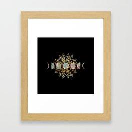Opal Moon and Gold Stars Framed Art Print