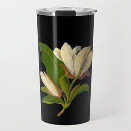Magnolia Tripetala Mary Delany Delicate Paper Flower Collage Black Background Floral Botanical Travel Mug