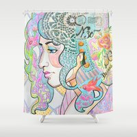 shabby chic Shower Curtains featuring Shabby Chic by Thea Maia