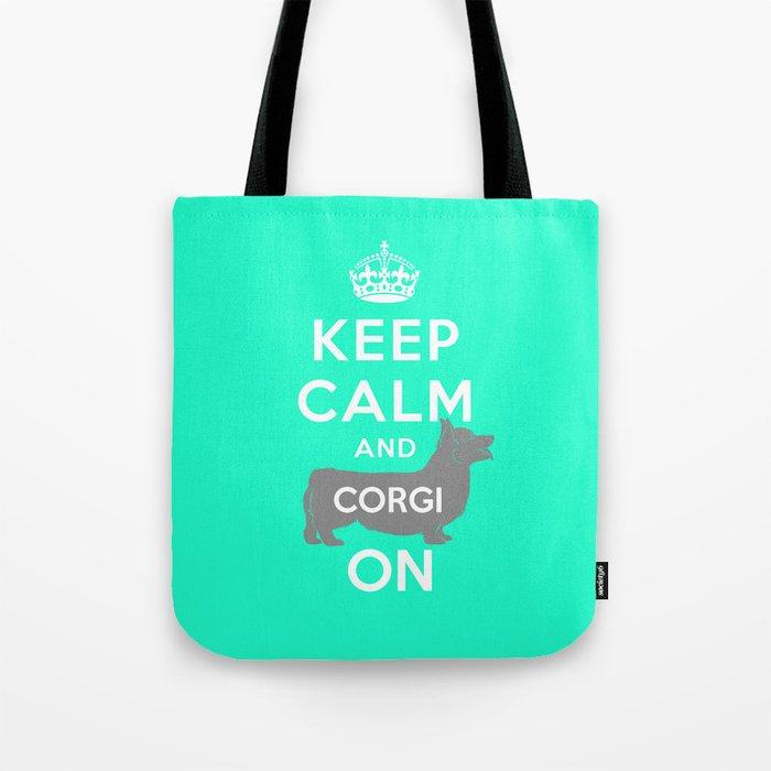 keep calm and corgi on Tote Bag