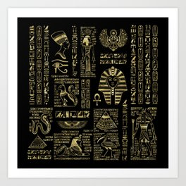 Egyptian hieroglyphs and deities gold on black Art Print