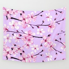 Pink Cherry blossom watercolor floral art and decor Wall Tapestry