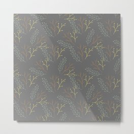 Autumn gray orange yellow green floral leaves Metal Print