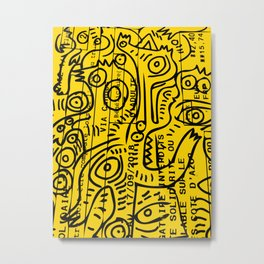 Yellow Street Art Graffiti Train Ticket Metal Print