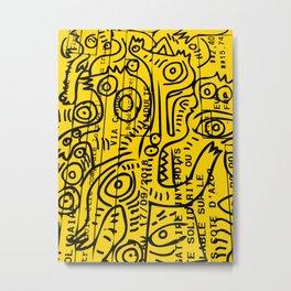 Yellow Street Art Graffiti Train Ticket Metal Print