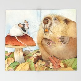 Mouse & Beaver Throw Blanket