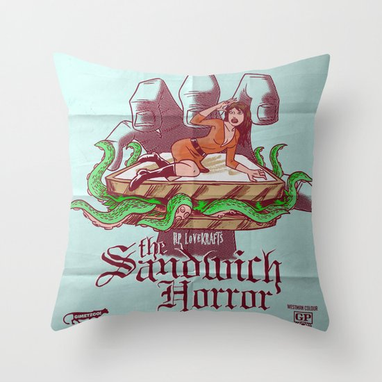 H.P. LoveKRAFT's  The Sandwich Horror Throw Pillow