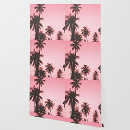 Tropical palm trees on beige pink Wallpaper