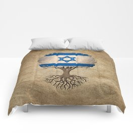 Vintage Tree of Life with Flag of Israel Comforters