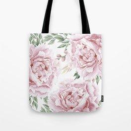 Girly Pastel Pink Roses Garden Tote Bag