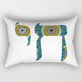 Blue And Orange Jewish Mandala Art - Chai 8 - Sharon Cummings Rectangular Pillow