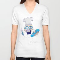 baking V-neck T-shirts featuring Baking Bread by DarkChoocoolat