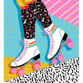 Notebook - Steeze - 80's memphis rollerskating rad neon trendy art gifts throwback retro vibes - Wacka