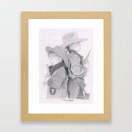 Pint Sized Cowboys Framed Art Print