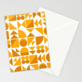 Mid Century Shape Art in Mustard Yellow Stationery Cards