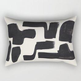 Mid Century Modern Minimalist Abstract Art Brush Strokes Black & White Ink Art Shapes Rectangular Pillow