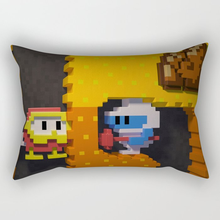Inside Dig Dug Rectangular Pillow