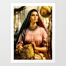 Jesus Helguera Painting of a Mexican Fisher Girl With Basket Art Print