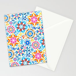 Watercolor Kaleidoscope Floral - brights Stationery Cards