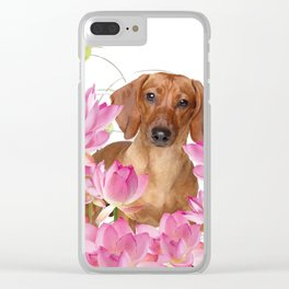 Dog in Field of Lotos Flower Clear iPhone Case