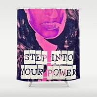 power rangers Shower Curtains featuring Power by Cullen Rawlins