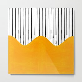 Lines & Wave (Yellow) Metal Print