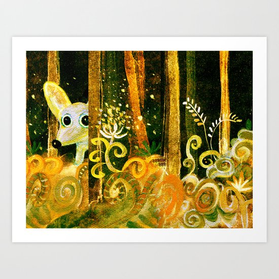 hiding in the forest Art Print