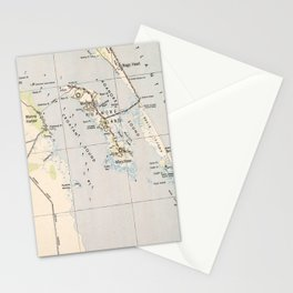 Vintage Map of Roanoke Island & Outer Banks NC Stationery Cards