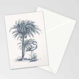 Toile De Jouy Flamingo Palm Tree Stationery Cards