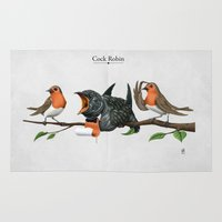 cock Area & Throw Rugs featuring Cock Robin by rob art | illustration