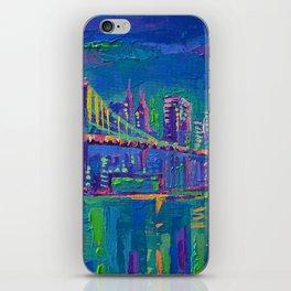 New York City Night Lights - palette knife painting urban Brooklyn bridge skyline iPhone Skin