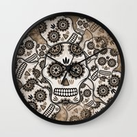 sugar skulls Wall Clocks featuring Sugar skulls by nicky2342