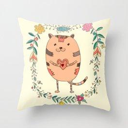 Cute lovely cat Throw Pillow