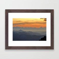Mountains. Foggy sunset Framed Art Print