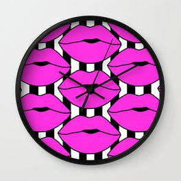 Pink Close up Stripe Lips Wall Clock