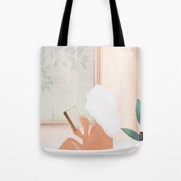 Reading Girl in Bathtub Tote Bag