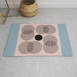 Abstract Floral Geometric Minimalist Graphic Pink Blue Rug