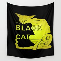 duvet cover Wall Tapestries featuring BLACK CAT DUVET COVER by aztosaha