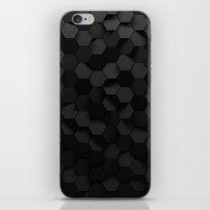 Black abstract hexagon pattern iPhone Skin