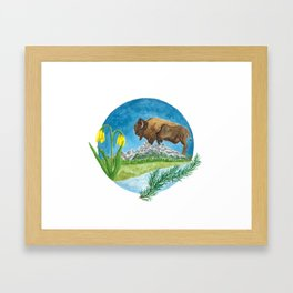 Bison Respect: Yellowstone Flora and Fauna Framed Art Print