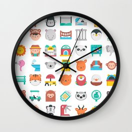 CUTE ZOO ANIMALS PATTERN Wall Clock