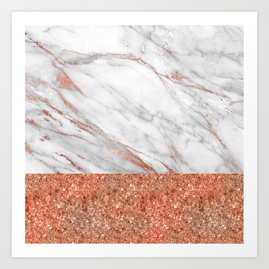 Luxury and glamorous pink glitter and white marble Art Print