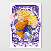 dragonball Canvas Prints featuring DragonBall Z - Saiyan House by Art of Mike