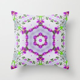 Purple Wildflower Kaleidoscope Art 2 Throw Pillow