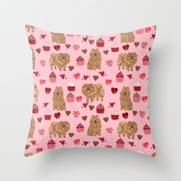 Pomeranian valentines day love hearts cupcakes pattern cute puppy dog breeds by pet friendly Throw Pillow