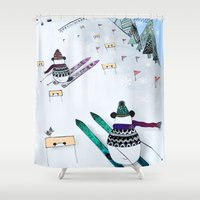 skiing Shower Curtains featuring Pandas gone skiing by monicamarcov
