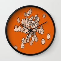 eggs Wall Clocks featuring Eggs by Marc Mif